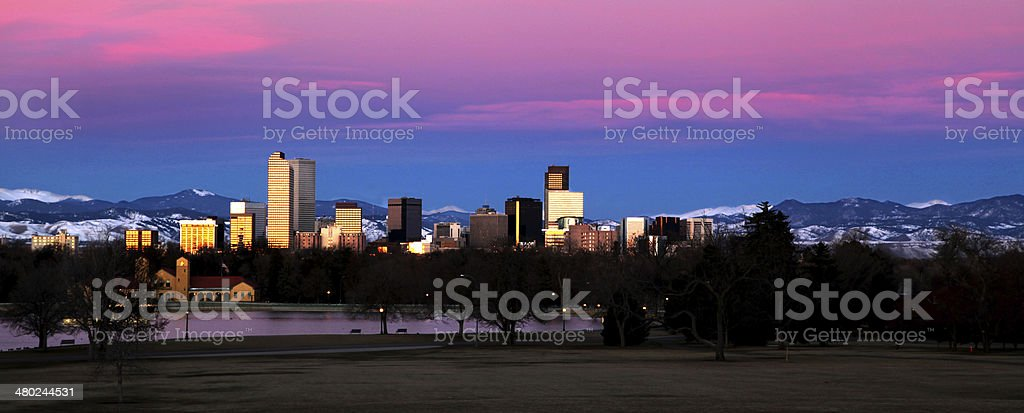 Denver Colorado Skyline at Sun Rise or Dawn stock photo
