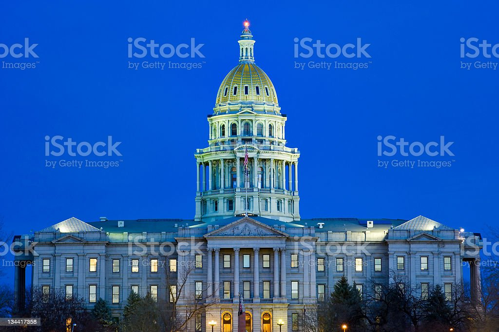 Denver Colorado State Capitol Building at Dusk stock photo