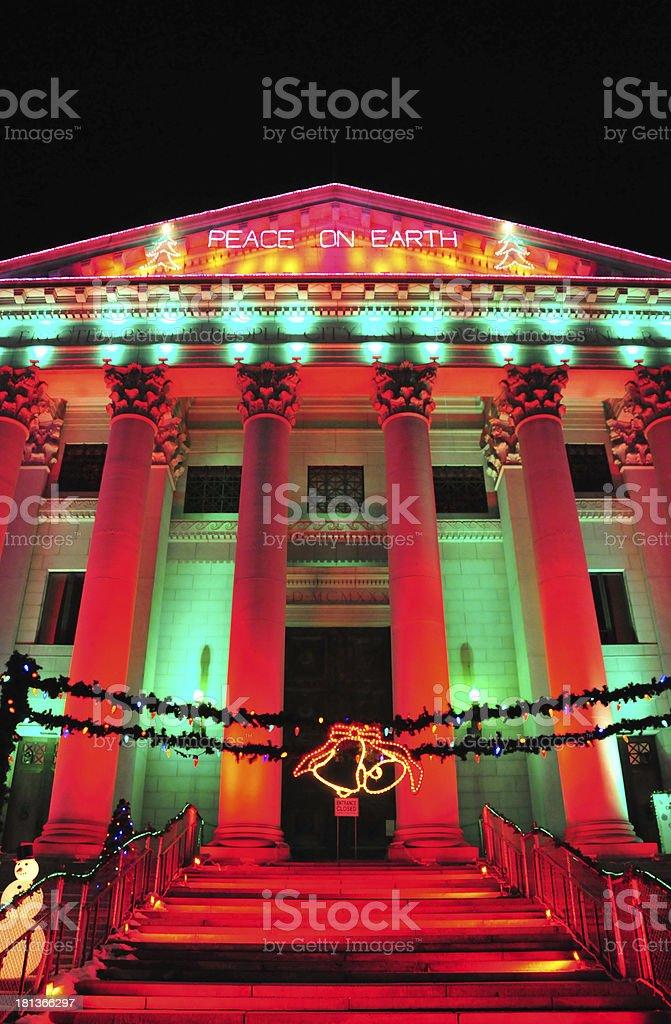 Denver, Colorado, USA: City and County Building, Christmas lights stock photo
