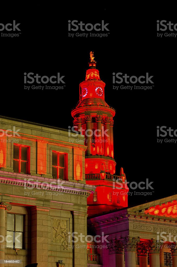 Denver County Courthouse with Colored Lights stock photo