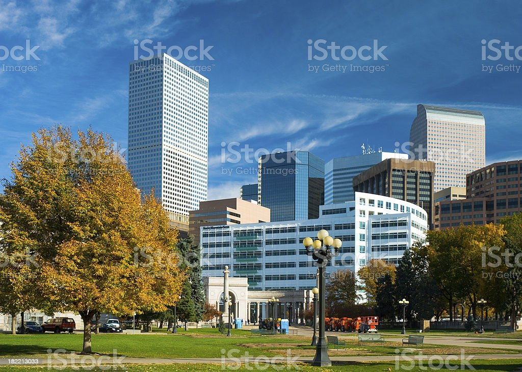Denver Downtown and Civic Center Park stock photo