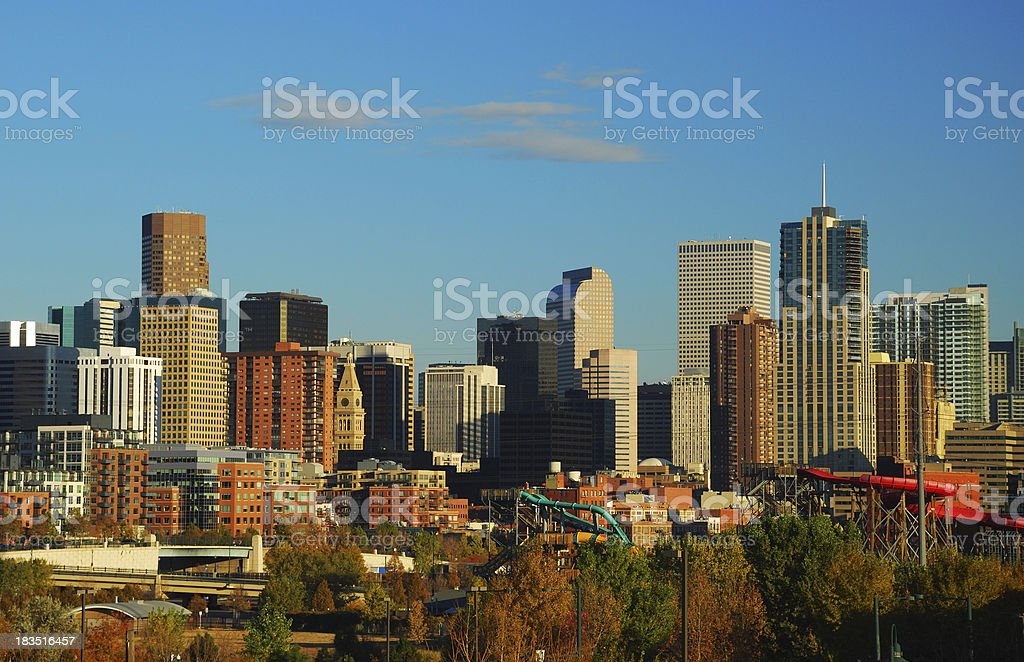 Denver Downtown skyline at the late afternoon stock photo