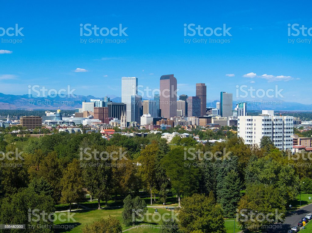 Denver elevated skyline view and park stock photo