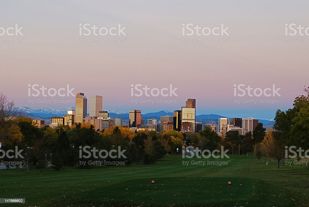 Denver from the East at sunrise stock photo