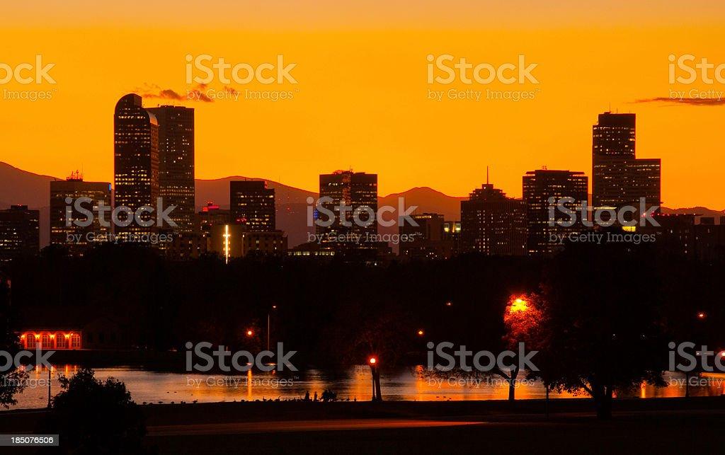 Denver skyline at dusk stock photo