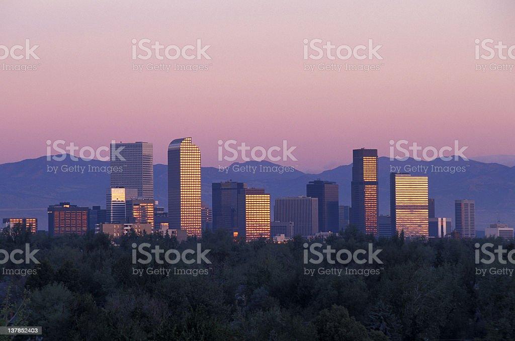 Denver Skyline at Sunrise stock photo