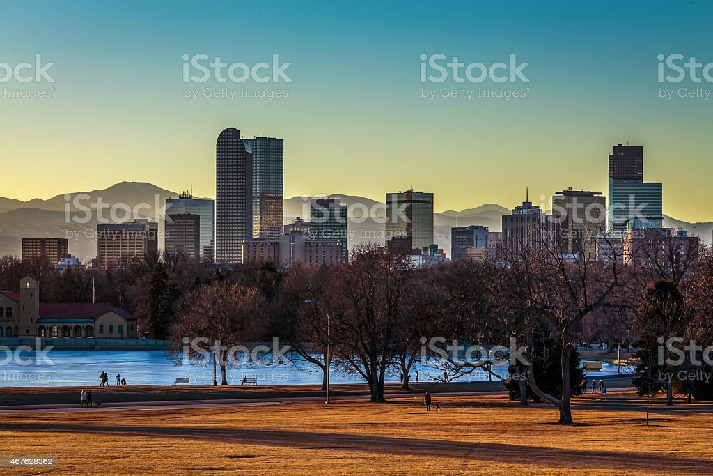 Denver Skyline at Sunset stock photo
