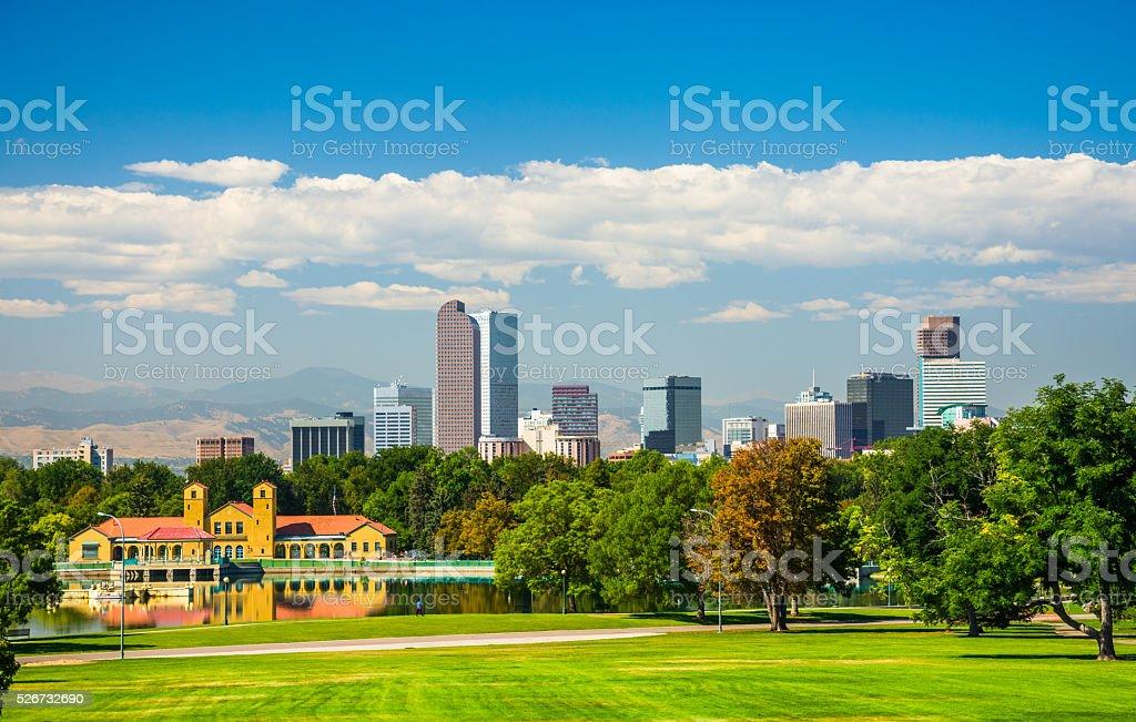 Denver Skyline, City Park, Lake, and Blue Sky with Clouds stock photo