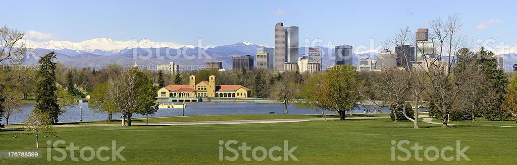 Denver Skyline from City Park Panorama stock photo