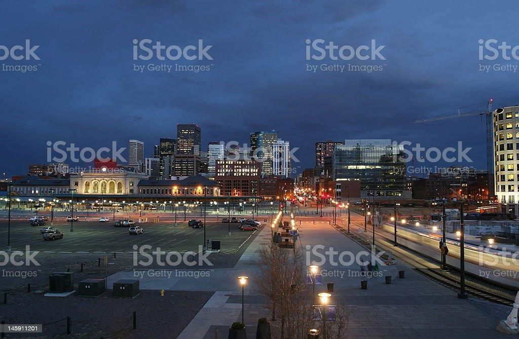 Denver Skyline in Twilight stock photo