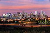 Denver skyline long exposure at twilight.
