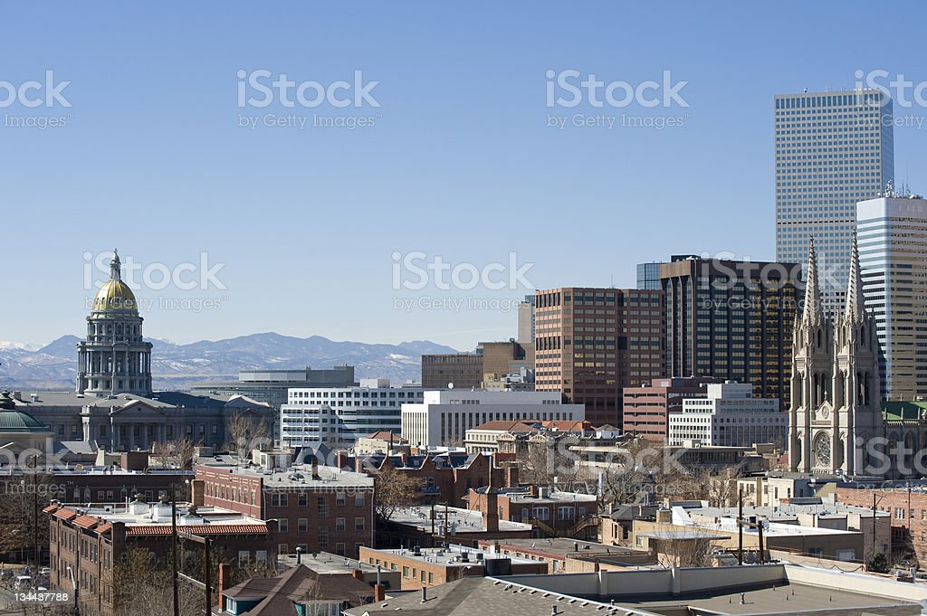 Denver State Capitol Building and Skyline with Mountain View stock photo