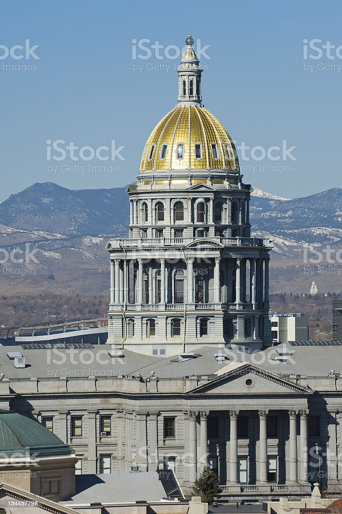 Denver State Capitol Building with Mountain View royalty-free stock photo