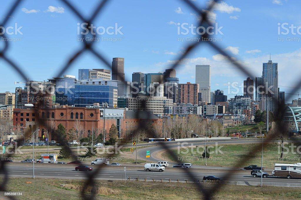 Denver through a Fence stock photo
