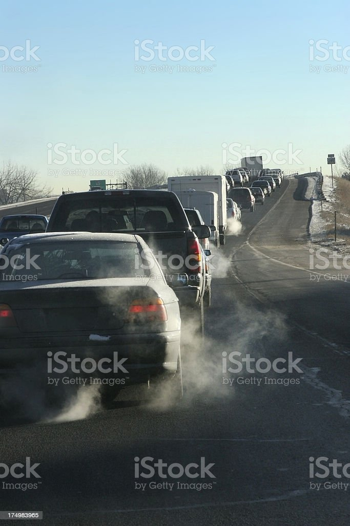 Denver traffic emits exhaust copy space stock photo