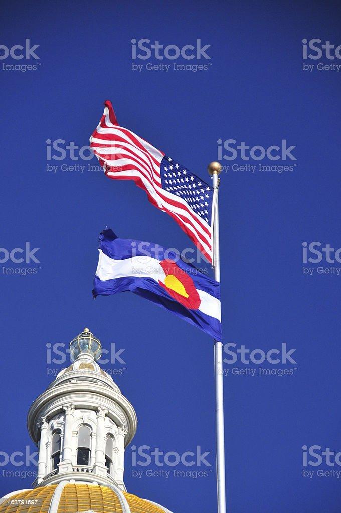 Denver, USA: flags at Colorado State Capitol stock photo