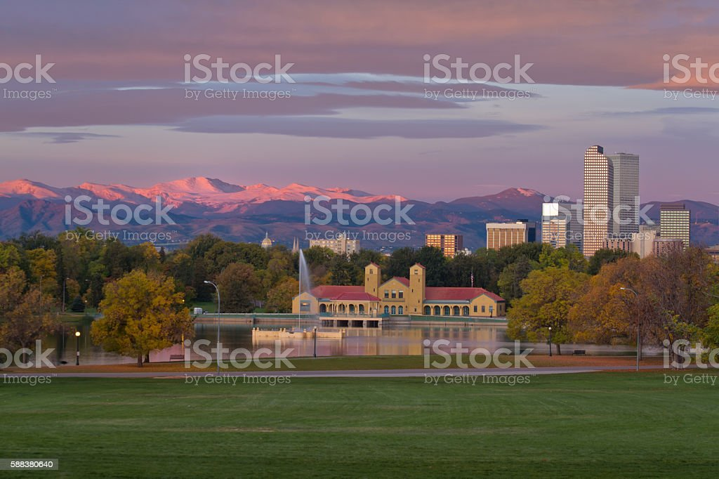 Denver's Downtown City Park with the Mountains stock photo