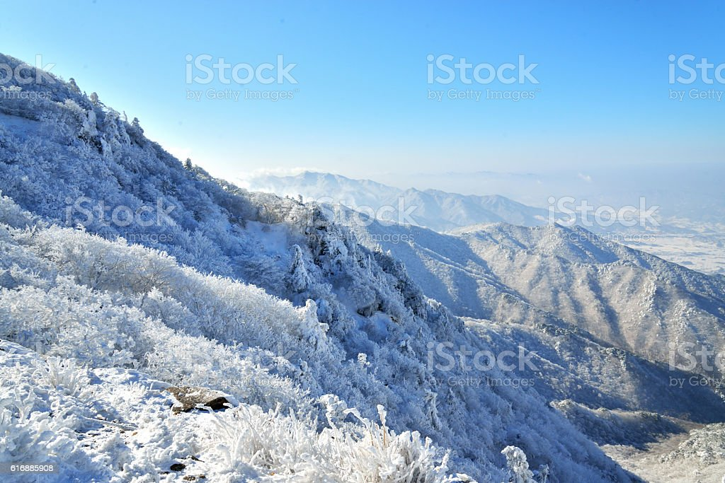 Deogyu Mountain Covered by Snow stock photo