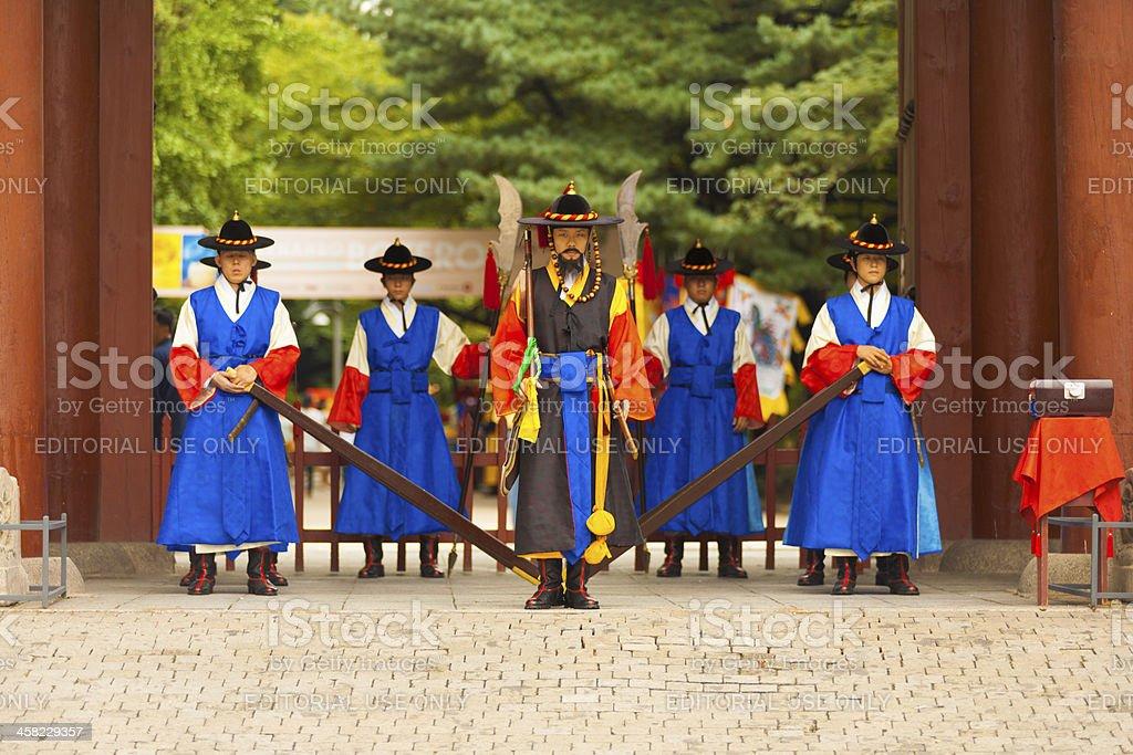 Deoksugung Palace Guards Entrance Gateway Close royalty-free stock photo