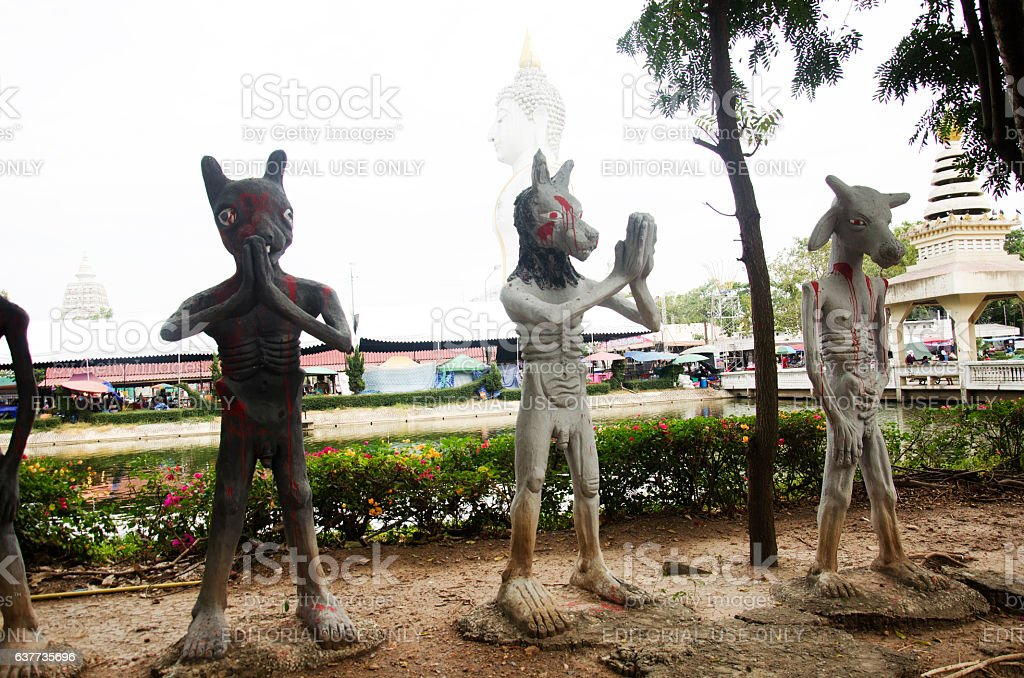 Departed spirits or hell land at Wat Phai Rong Wua stock photo