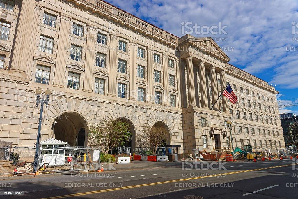 Department of Commerce in Herbert C Hoover Building stock photo