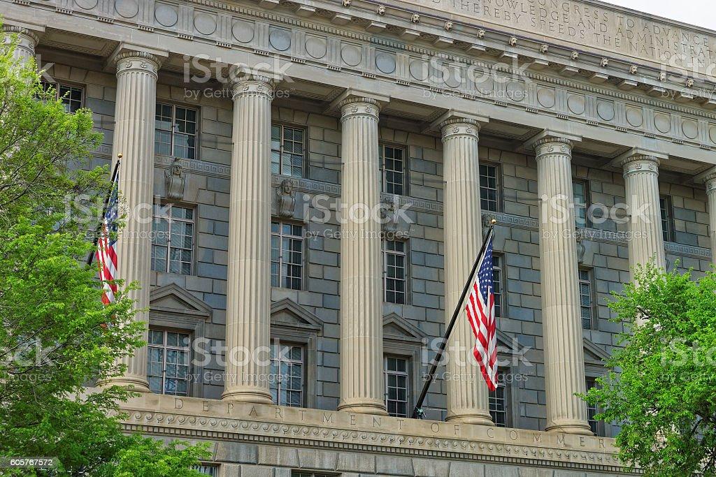 Department of Commerce in the Herbert C Hoover Building stock photo