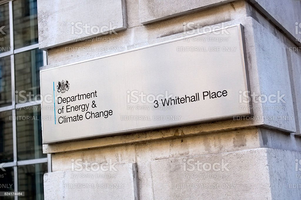 Department of Energy and Climate Change - sign in London stock photo