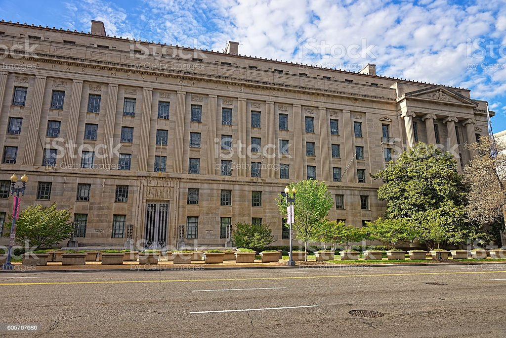 Department of Justice building in Washington DC USA stock photo