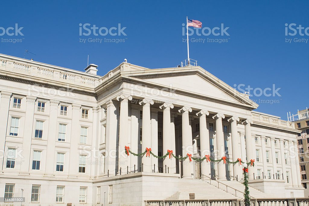 Department of the Treasury Decorated for Christmas, Washington DC, USA stock photo