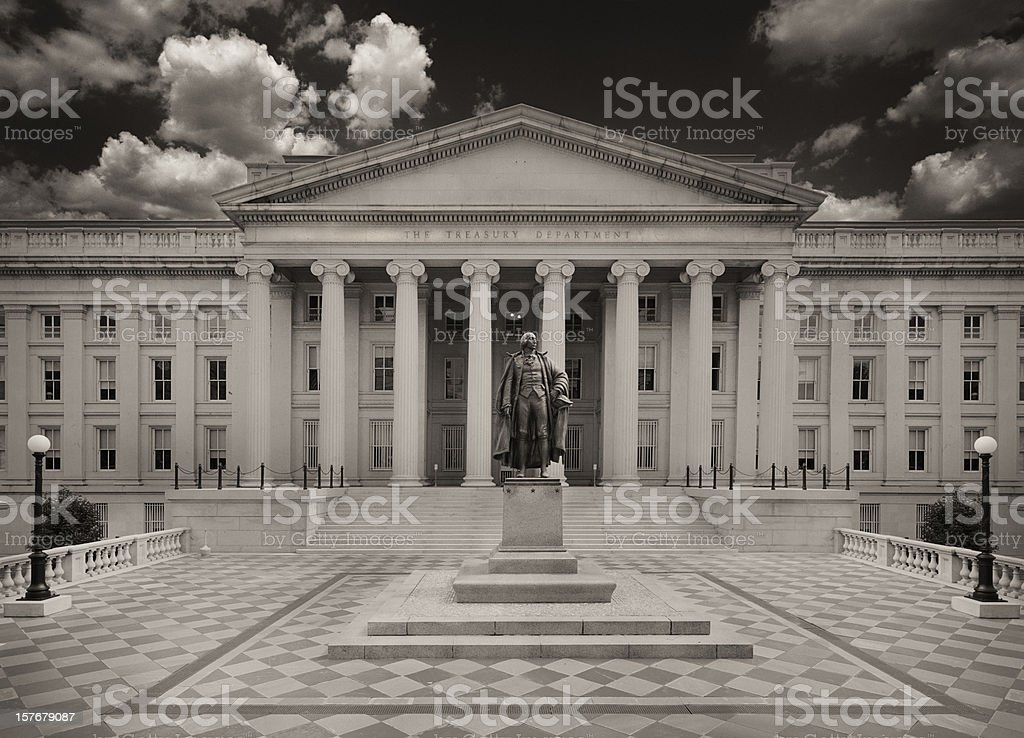 US Department Of The Treasury Sepia Toned stock photo