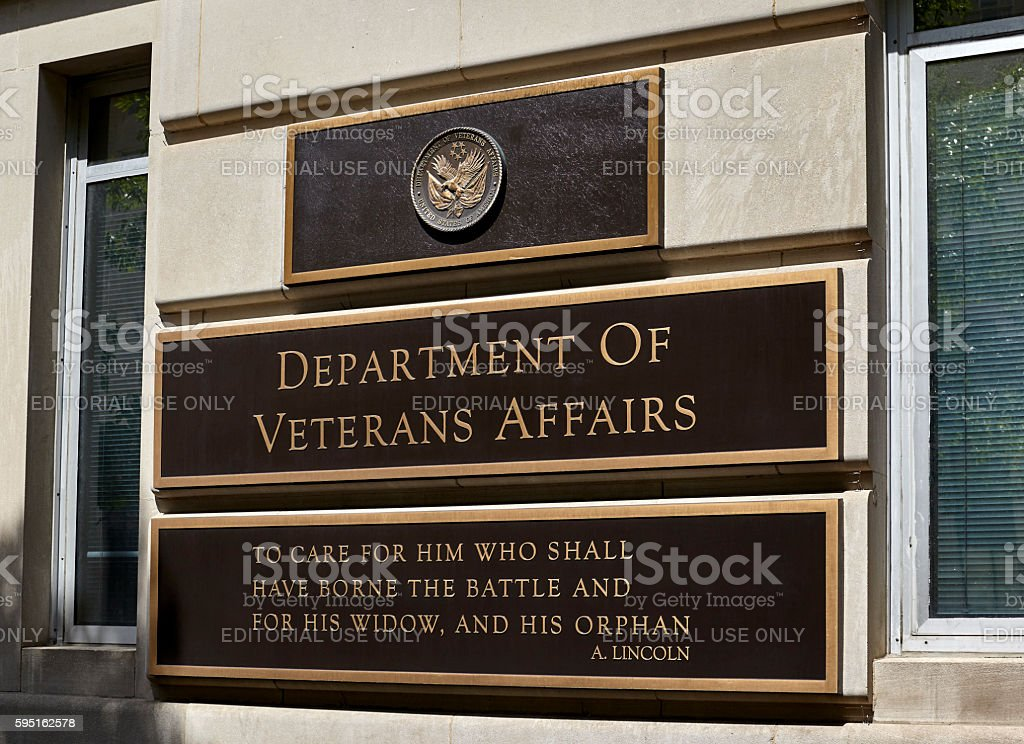 Department of Veterans Affairs Building Sign stock photo