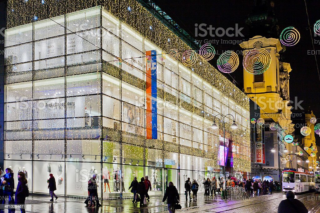Department store at Christmas, Linz stock photo
