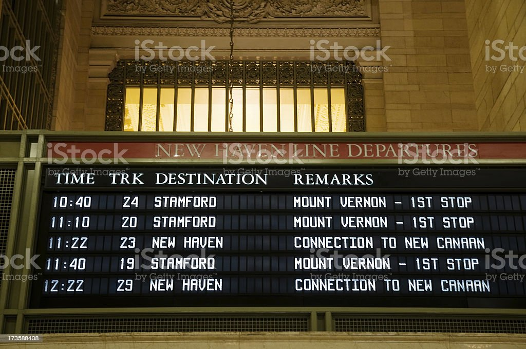 Departure board at Grand Central in New York royalty-free stock photo