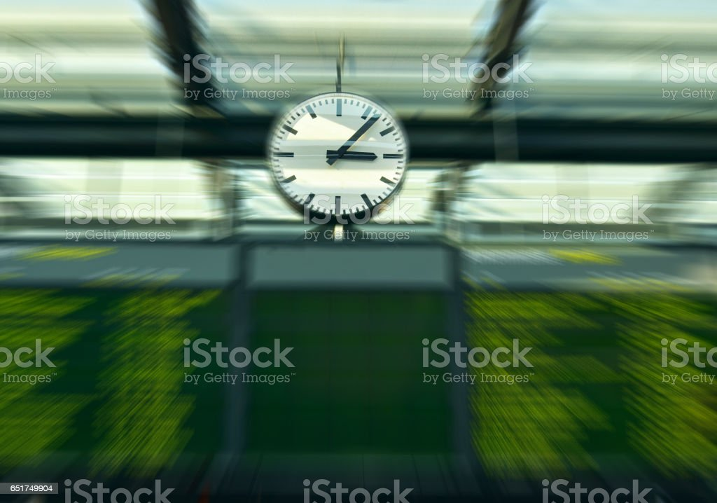 Departure board at railway station - Travel concept stock photo