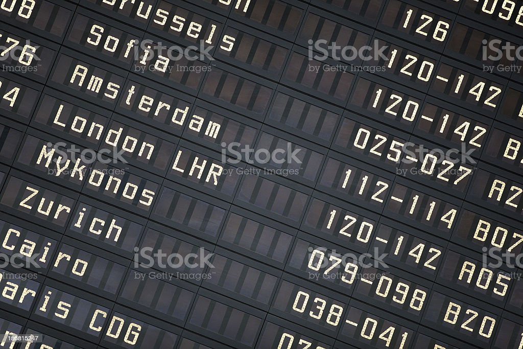 Departure board in Athens International Airport. royalty-free stock photo