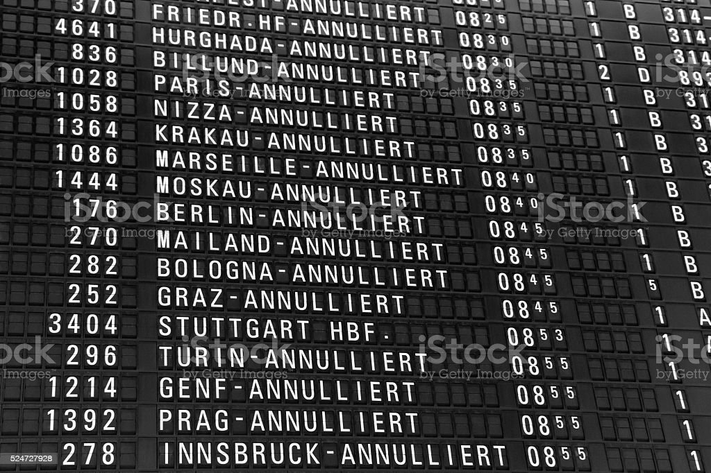 Departure Board with Cancelled Flights stock photo