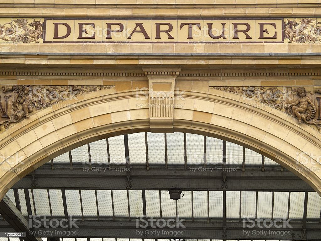 Departure entrance of Leicester railway station royalty-free stock photo