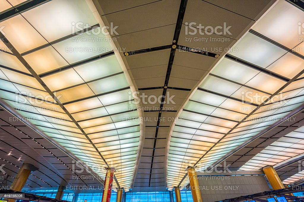 Departure hall at Changi airport with check-in zone stock photo