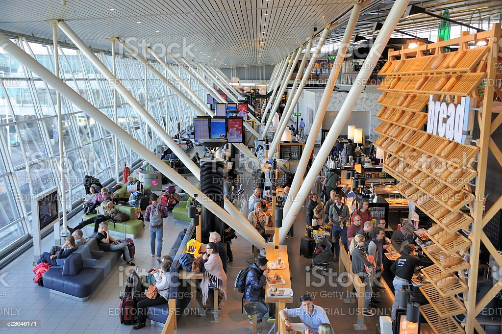 Departure hall at Schiphol airport stock photo