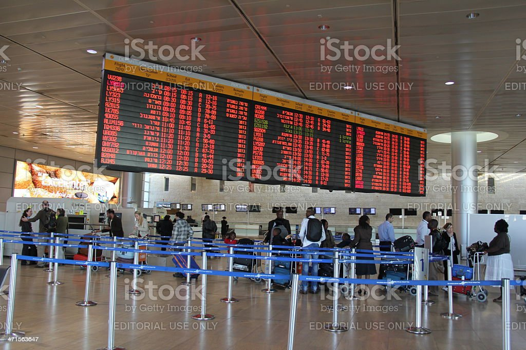 Departure Hall of  Ben Gurion Airport royalty-free stock photo
