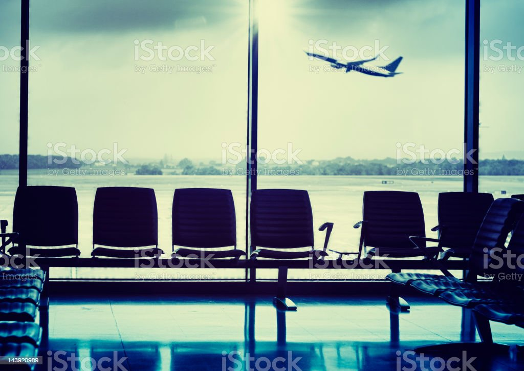 Departure lounge during the airplane take off stock photo