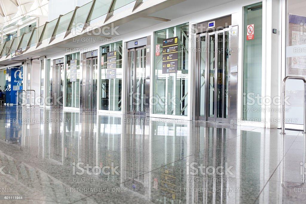 Departure lounge in Bilbao Airport stock photo