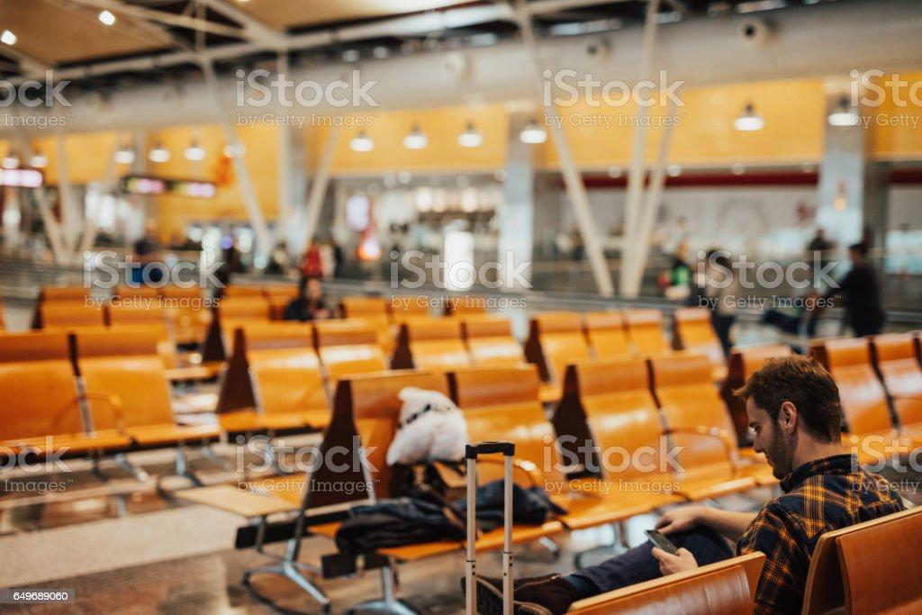 Departure lounge stock photo