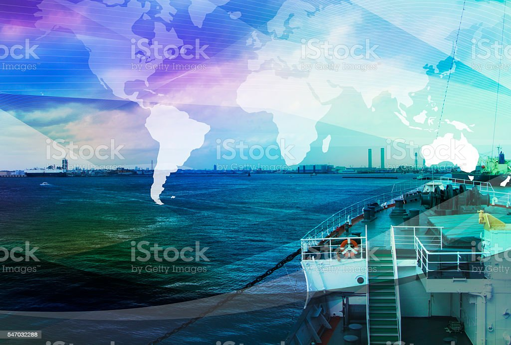 departure of ship and global business, abstract image visual stock photo
