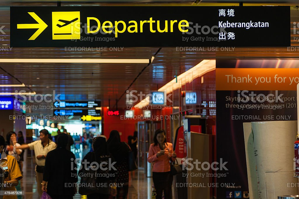 Departure Sign at Singapore Changi Airport stock photo