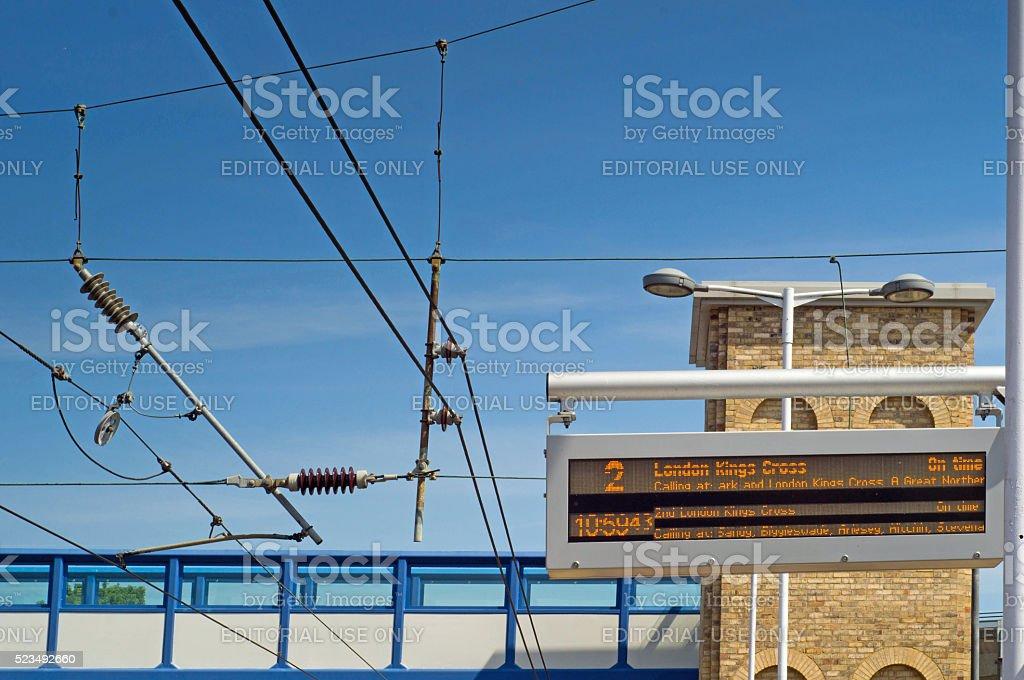 Departure sign on Huntingdon train station stock photo