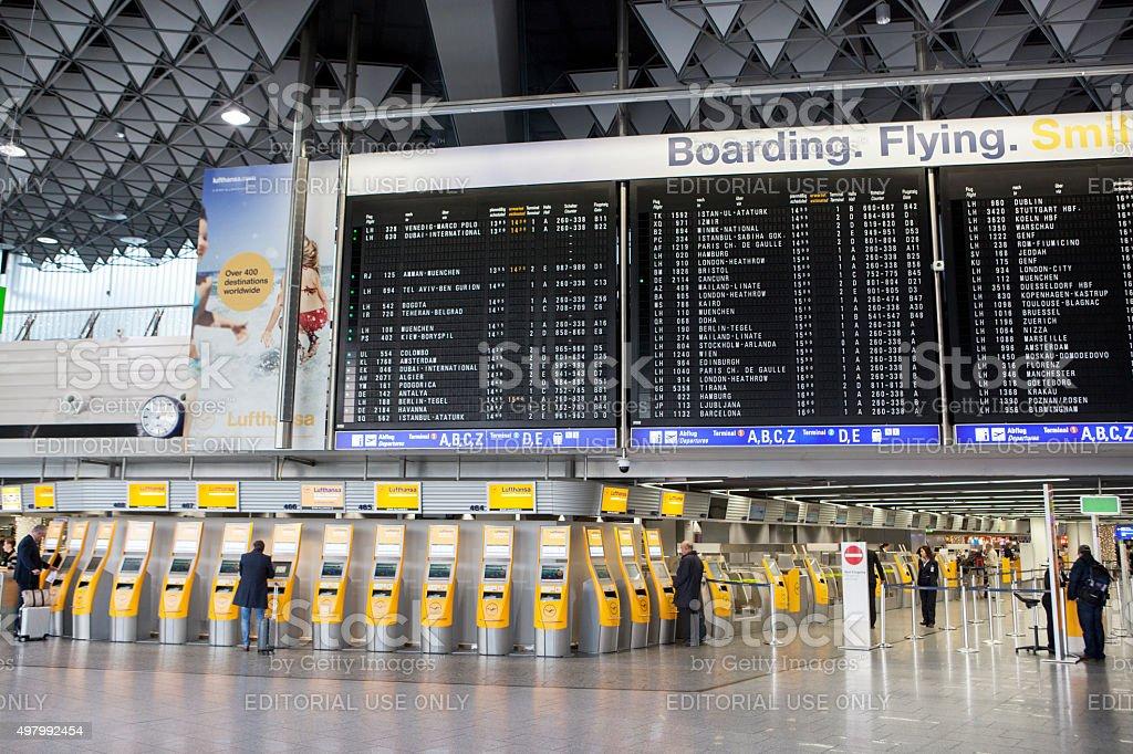 Departure terminal 1 Airport Frankfurt stock photo