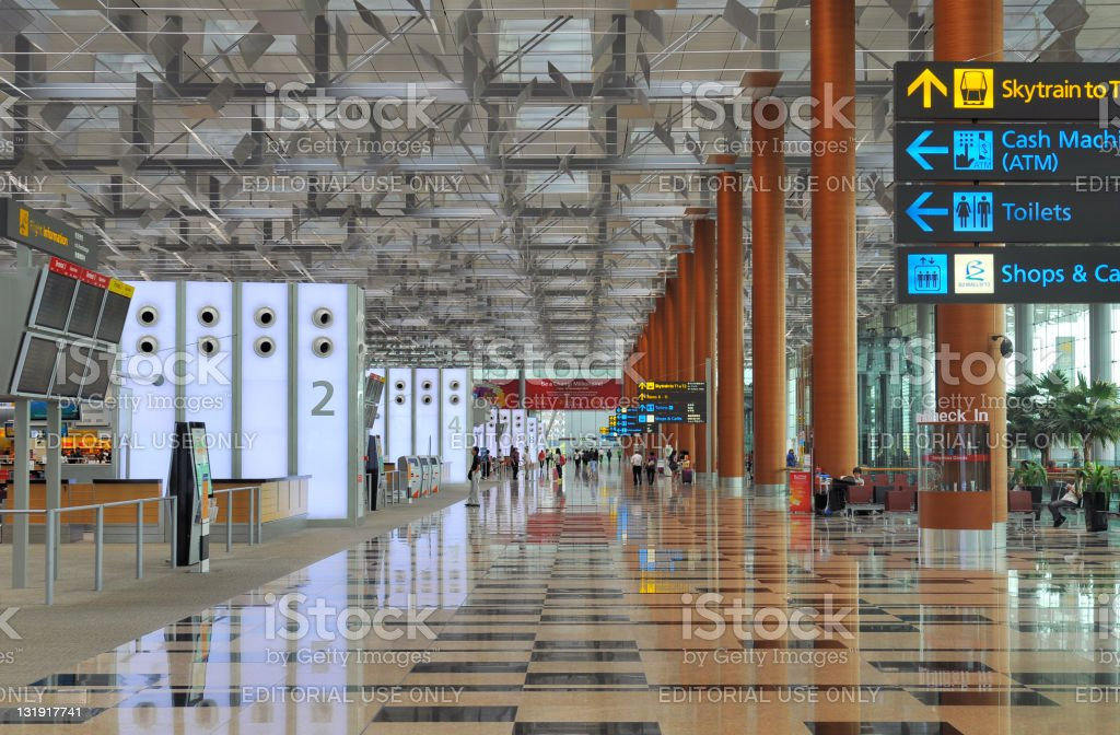 Departure Terminal 3 of Changi Airport in Singapore stock photo