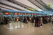 Departure terminal at Kansai International Airport (KIX), Osaka, Japan.
