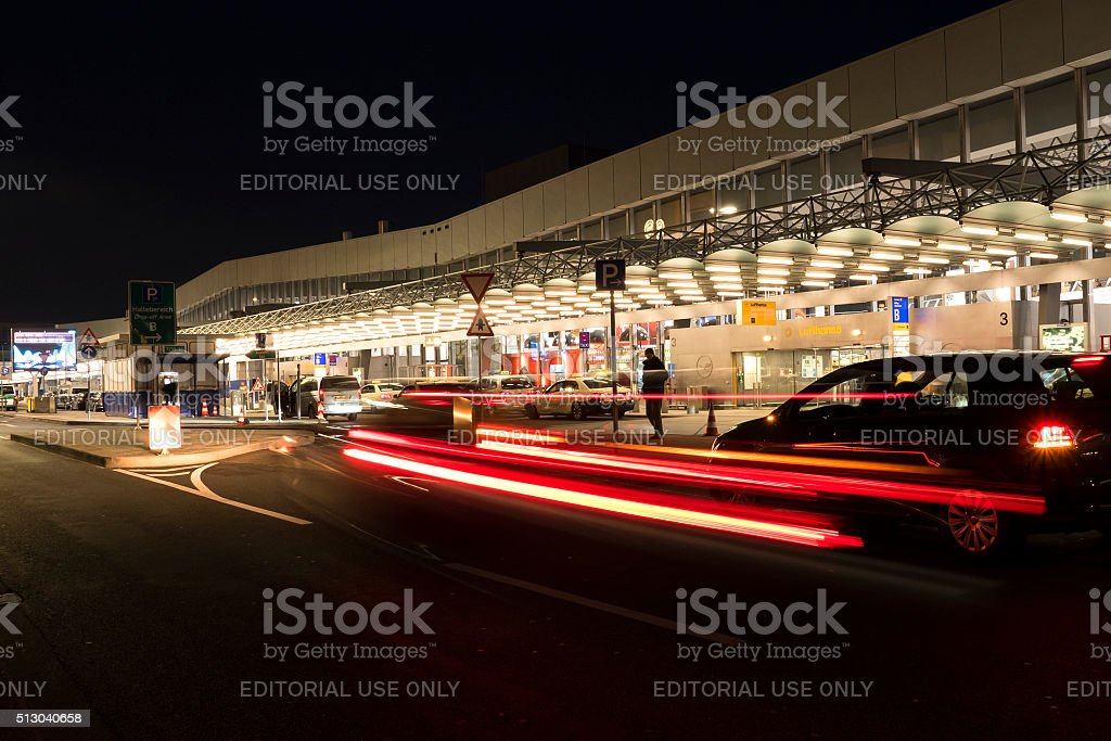 Departure terminal hall Frankfurt Airport, long exposure stock photo